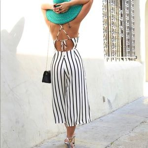 Forever 21 Striped culote Jumpsuit